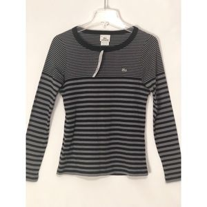 🆕 Lacoste Black & Gray Stripe Top 6